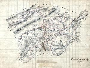 1860s, Roanoke County Wall Map, Virginia, United States