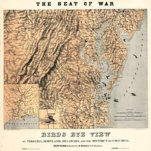 1861,VA - MD - DE - D.C. Bird's Eye View - The Seat of War, District of Columbia,USA