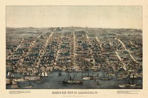 1863, Alexandria Bird's Eye View, Virginia, United States