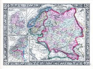 1864, Belgium, Denmark, Finland, Norway, Russia, Sweden, Europe, Russia in Europe, Sweden