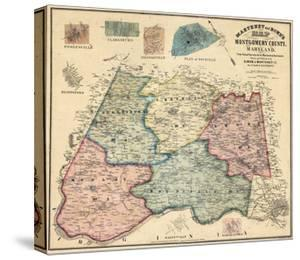 1865, Montgomery County Wall Map, Maryland, United States