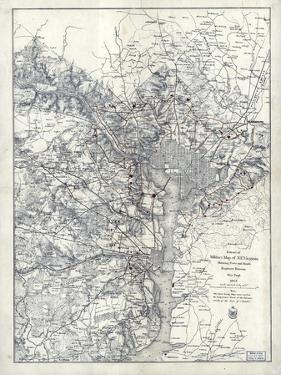 1865, Washington D.C., Civil War, Military Wall Map, District of Columbia, United States