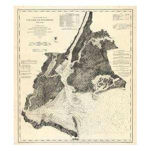 1866, New York Bay - Staten Island - Point Comfort Chart 1851 New York and New Jersey, New York, Un