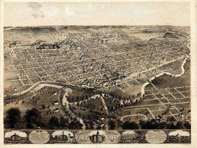 1868, Fort Wayne Bird's Eye View, Indiana, United States
