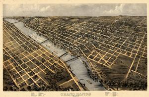1868, Grand Rapids Bird's Eye View, Michigan, United States