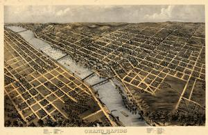 1868, Grand Rapids Bird's Eye View, Michigan, United States