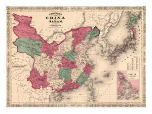 1868 Map of China and Japan, Showing Provincial Boundaries