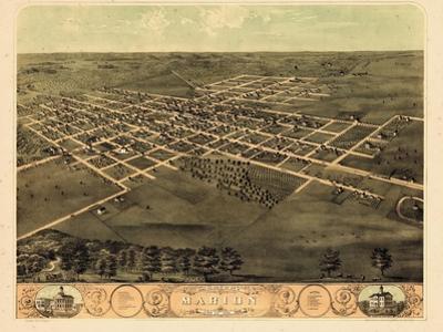 1868, Marion Bird's Eye View, Iowa, United States