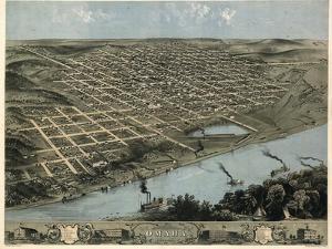 1868, Omaha 1868 Bird's Eye View, Nebraska, United States