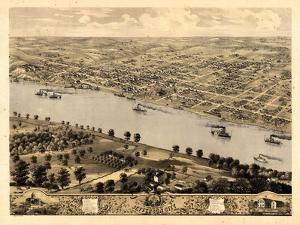 1869, Jefferson City Bird's Eye View, Missouri, United States