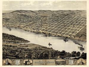 1869, Leavenworth Bird's Eye View, Kansas, United States