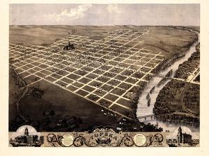 1869, Topeka Bird's Eye View, Kansas, United States