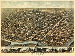 1870, Dayton Bird's Eye View, Ohio, United States