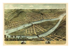 1870, Wheeling Bird's Eye View, West Virginia, United States