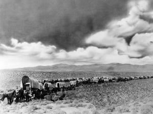 1870s-1880s Montage of Covered Wagons Crossing the American Plains