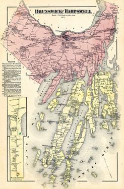 1871, Brunswick, Harpswell, Orrs Island, Baileys Island, Maine