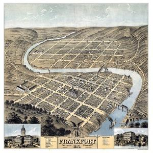 1871, Frankfort Bird's Eye View, Kentucky, United States