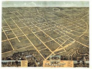 1871, Lexington Bird's Eye View, Kentucky, United States