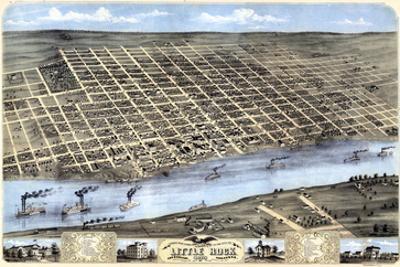1871, Little Rock Bird's Eye View, Arkansas, United States