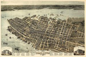 1872, Charleston Bird's Eye View, South Carolina, United States