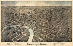 1872, Columbus Bird's Eye View, Ohio, United States
