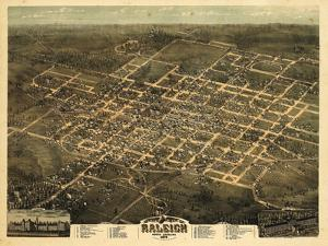 1872, Raleigh Bird's Eye View, North Carolina, United States