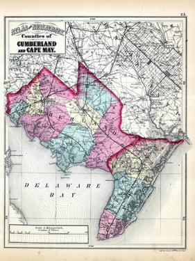 1873, Cumberland and Cape May Counties Map, New Jersey, United States