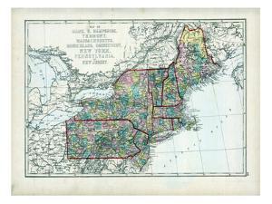 1873, Maine, New Hampshire, Vermont, Massachusetts, Rhode Island, Connecticut, New York, USA