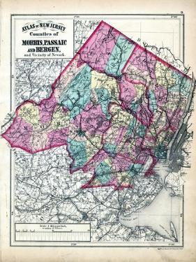 1873, Morris, Passaic and Bergen Counties Map, New Jersey, United States