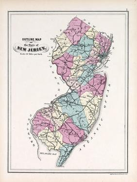 1873, New Jersey State Map, New Jersey, United States