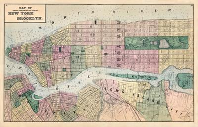 1873, New York and Brooklyn Cities Central Portions Map, New York, United States