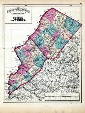 1873, Sussex and Warren Counties Map, New Jersey, United States