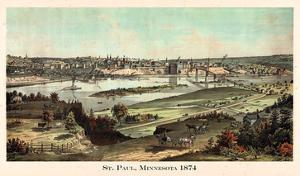 1874, St. Paul 1874 Bird's Eye View, Minnesota, United States