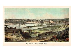 1874, St. Paul 1874 Bird's Eye View, Minnesota, United States