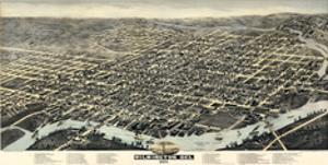 1874, Wilmington Bird's Eye View, Delaware, United States