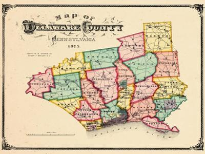 1875, Delaware County Map, Pennsylvania, United States