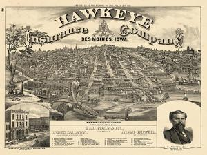 1875, Des Moines Bird's Eye View, Iowa, United States