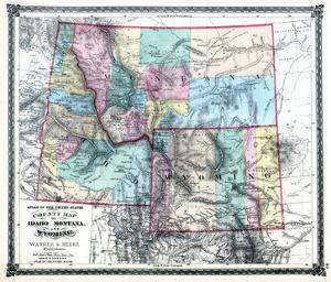 1875, Idaho, Montana and Wyoming States Map, United States