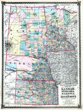 1875, Kansas, Nebraska, Dakota and Minnesota States Map, United States