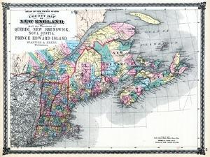 1875, New England and the Provinces of Quebec, New Brunswick, Nova Scotia, and Prince Edward Island