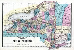 1875, New York State Map, New York, United States