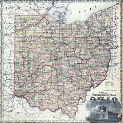 1875, Ohio Railroad and Township Map, Ohio, United States