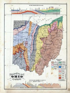 1875, Ohio State Geological Map, Ohio, United States