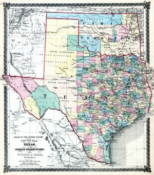 1875, Texas and Indian Territory Map, United States