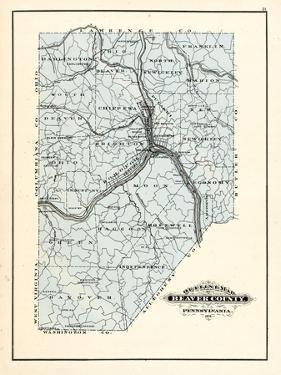 1876, Beaver County Map, Pennsylvania, United States
