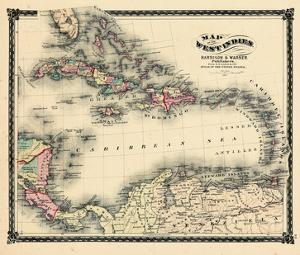1876, County Map of Florida, West Indies, Caribbean, Mexico, Cuba, South America, United