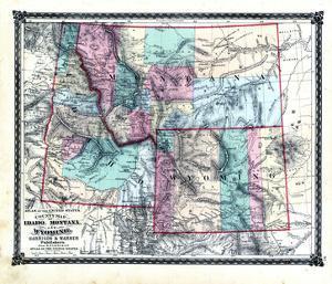1876, County Map of Idaho, Montana and Wyoming, Missouri, United States