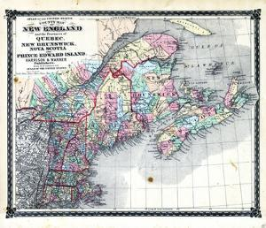 1876, County Map of New England and the Provinces of Quebec, New Brunswick, Nova Scotia and Prince