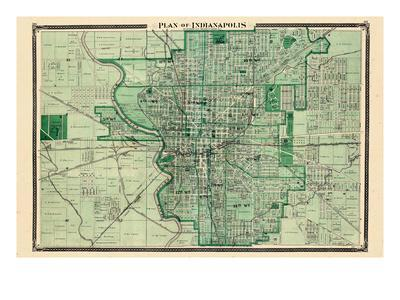 Maps Of Indiana Posters At AllPosterscom - Indianapolis indiana usa map