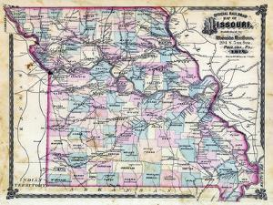 1876, Missouri Railroad Map, Missouri, United States